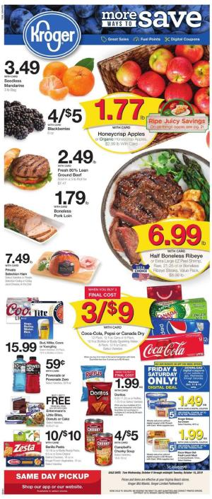 Kroger Weekly Ad Oct 9 15 2019 Grocery Coupons Previews