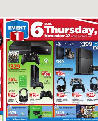 Walmart Playstation 4 and Xbox One