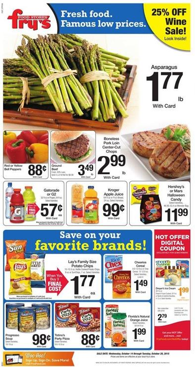 Fry's Weekly Ad Food Products Oct 14 - Oct 20 2015