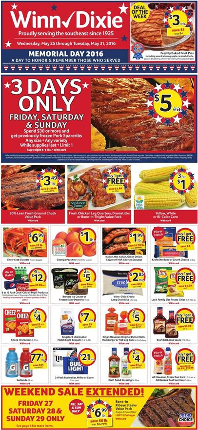 Winn Dixie Weekly Ad May 25 31 2016 Memorial Day