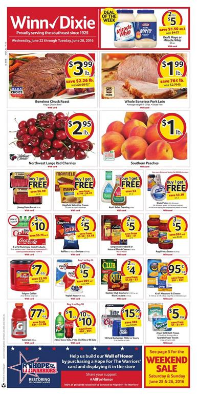 Winn Dixie Weekly Ad Jun 22 - 28 2016