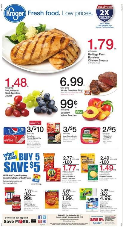 Kroger Weekly Ad Jul 27 - Aug 2 2016 Coupon Matchups New