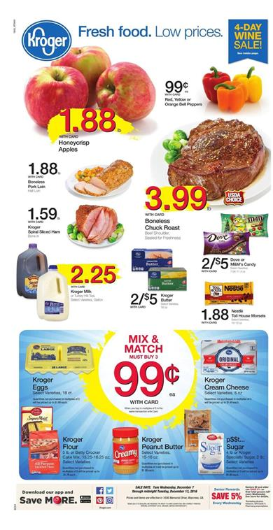 Kroger Weekly Ad Holiday Deals Dec 7 - 13 2016