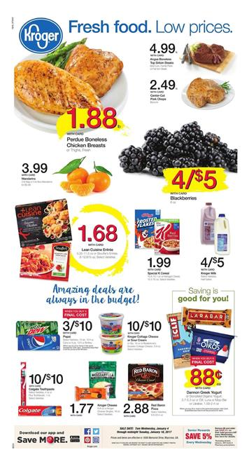 Kroger Weekly Ad Overview January 4 - 10 2017