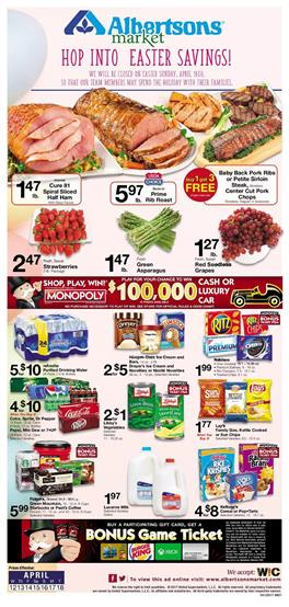 Albertsons Weekly Ad Easter April 12 - 18 2017
