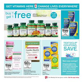 Buy 1 Get Free Nature Made Vitamins and Supplements w/Card. Walgreens Pre Black Friday Deals. Walgreens Black Friday Deals are NOT live yet. Following are our latest handpicked Walgreens deals.