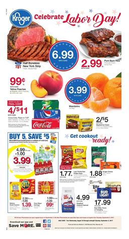 Kroger Weekly Ad Deals Aug 30 Sep 5 2017 Labor Day