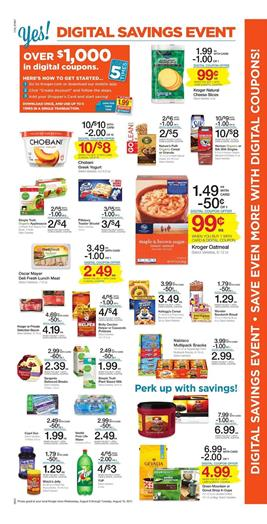 Kroger Weekly Ad Grocery August 9 - 15 2017