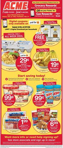 Acme Weekly Ad Digital Coupons Feb 21 27 2020