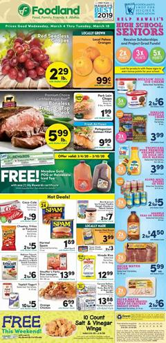 Foodland Weekly Ad Hot Deals Mar 4 - 10, 2020