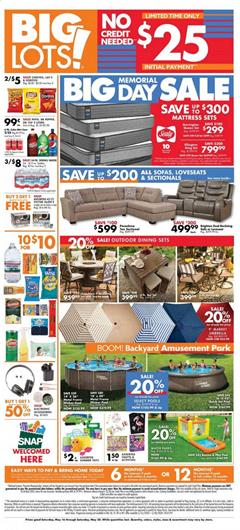 Big Lots Ad Memorial Day Sale May 16 - 30, 2020