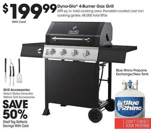 King Soopers Dyna Glo 4 Burner Gas Grill