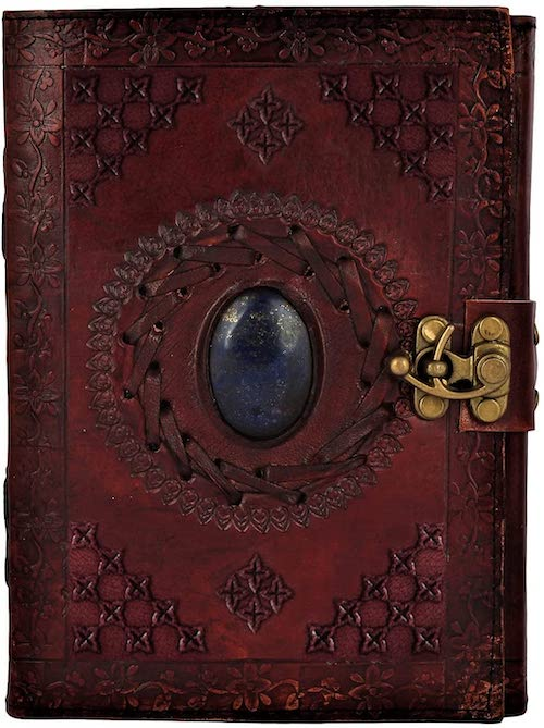 Leather Bound Journal for Men Women with Semi-Precious Stone & Buckle Closure