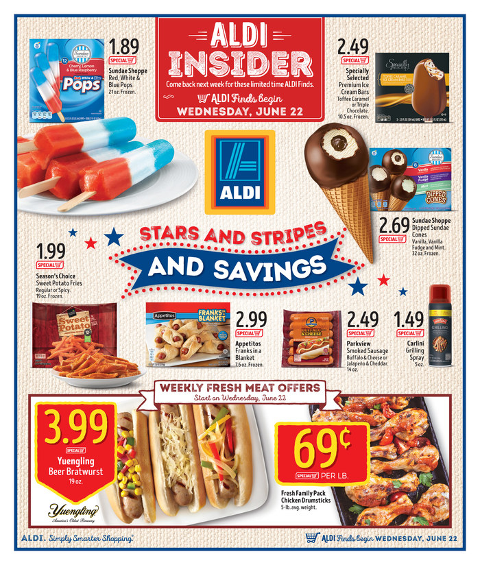 aldi weekly ad in store 6 22 2016. Black Bedroom Furniture Sets. Home Design Ideas