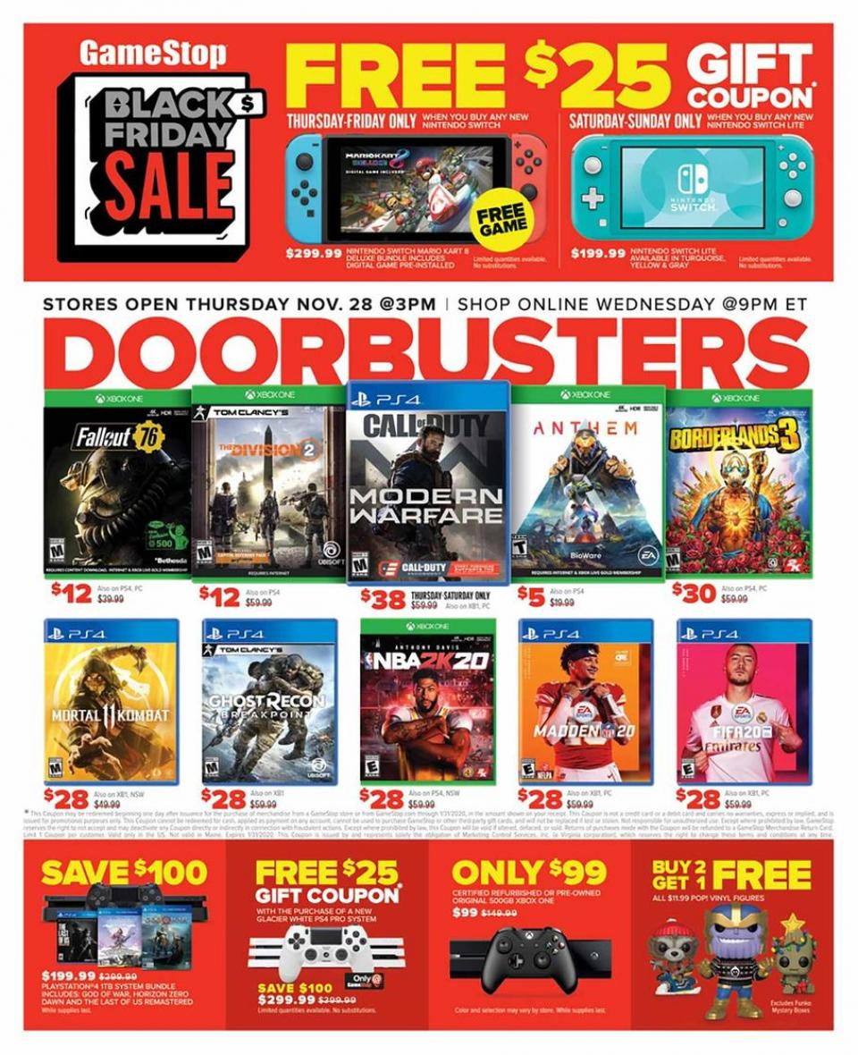 Gamestop black friday ad