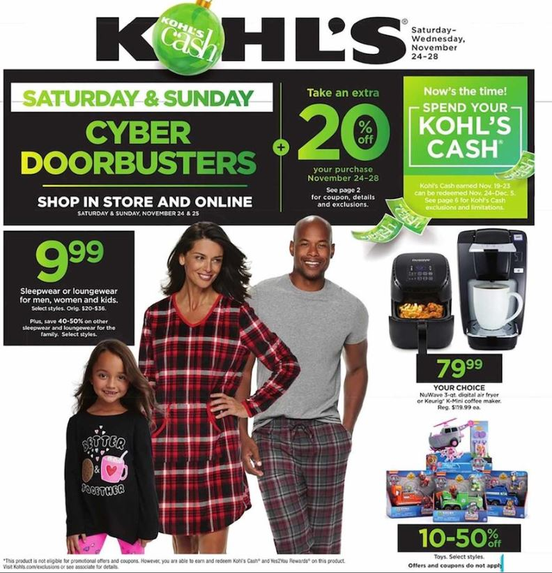 kohl 39 s cyber monday ad 2018. Black Bedroom Furniture Sets. Home Design Ideas