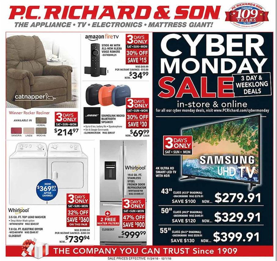pc richard and son cyber monday ad 2018