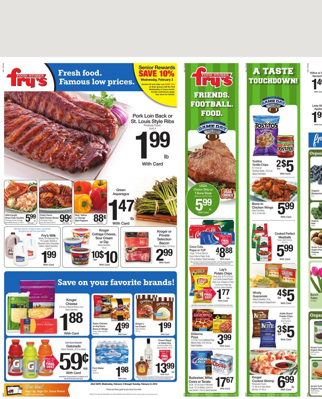 Fry's Food offers Deli & Bakery products, Party Platters, Cakes, Murray's Cheese, Natural Foods, Fresh Produce, Coinstar, Phone Cards, Western Union – Money Transfer Service, and Visa Prepaid Debit Card. Save with Fry's Food Weekly Ad. Many Fry's Food Locations have a .