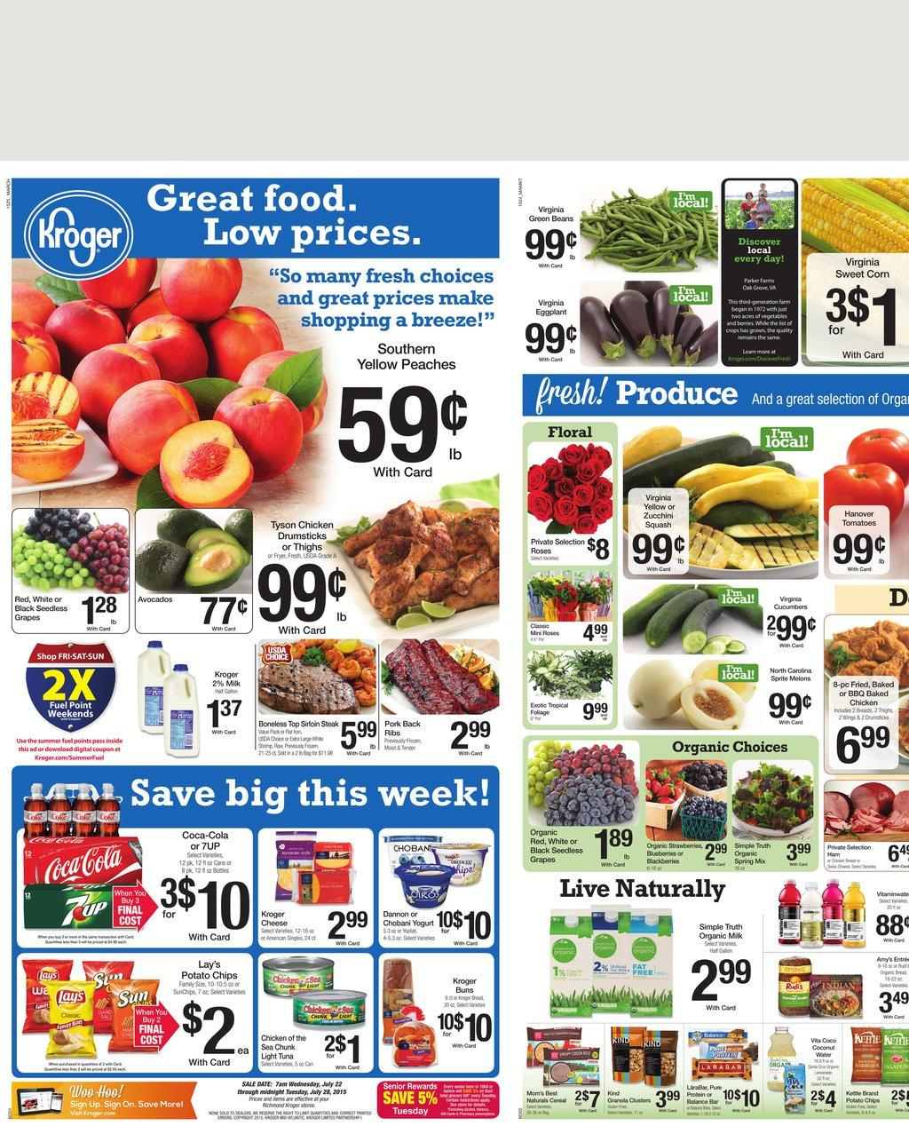 kroger weekly ad 7 22 products 2015