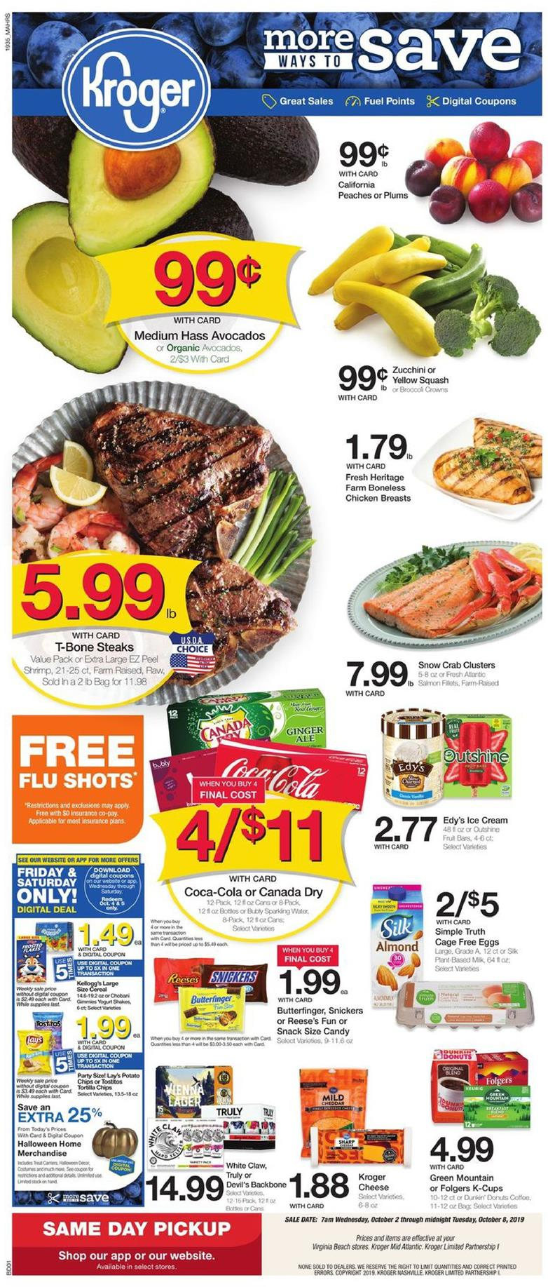 kroger weekly ad oct 2 2019