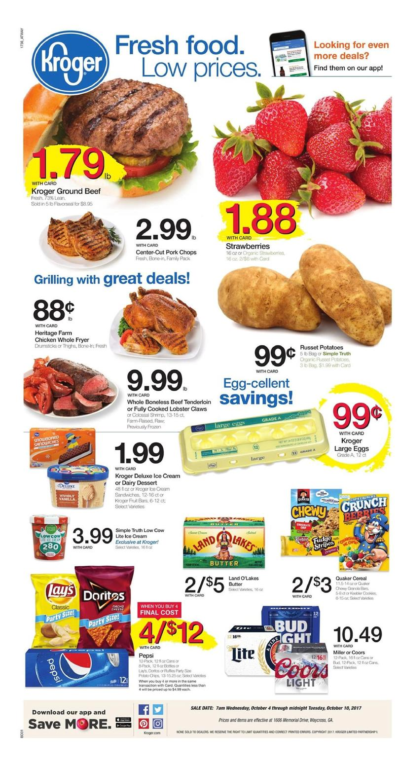 Kroger Weekly Ad October 4 - 10 2017