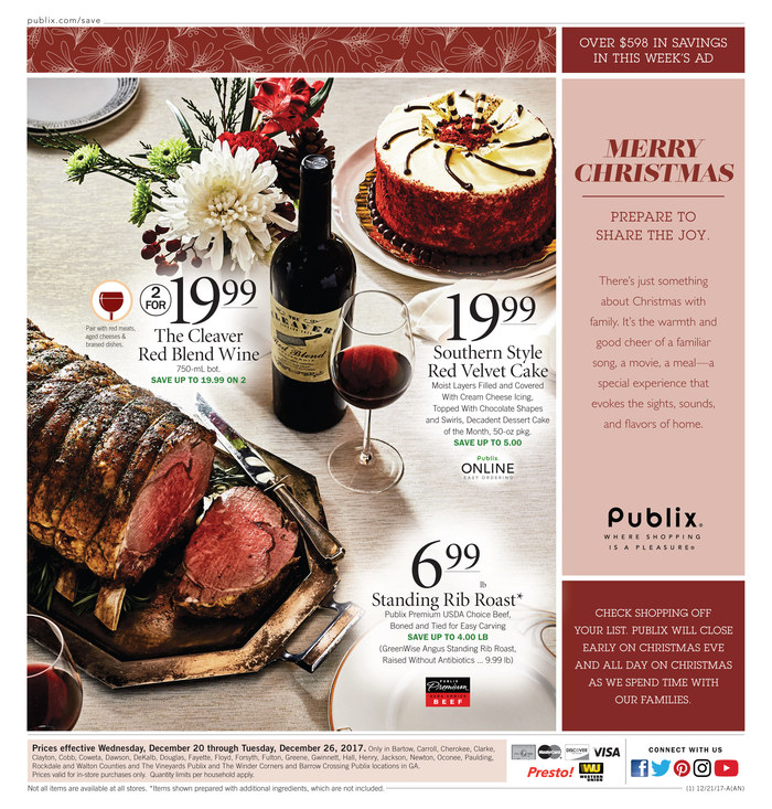Publix Christmas Eve Hours.Publix Weekly Ad December 20 26 2017