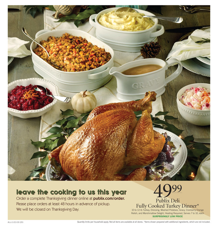 Publix Thanksgiving Fully Cooked Turkey Dinner