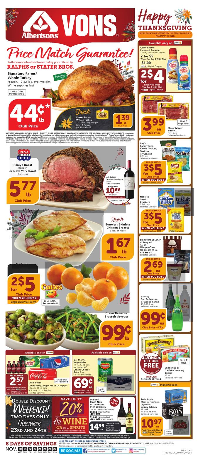 Vons Weekly Ad Deals Nov 20 - 28, 2019