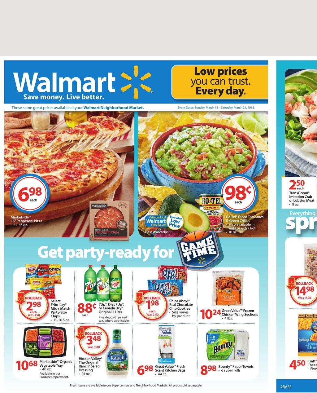 Walmart Spring Meals and Entertainment Products March 2015